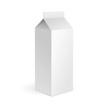 Milk, Juice Carton Package Blank White On White Background Isolated. Ready For Your Design. Product Packing Vector. Vector