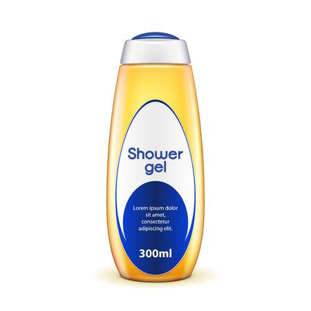 シャワー ジェル オイルボトル シャンプー黄色ラベルの。白い背景で隔離の図。あなたのデザインの準備ができて。ベクター EPS10  イラスト・ベクター素材