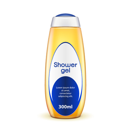 Oil Shower Gel Bottle Of Shampoo Yellow With Label. Illustration Isolated On White Background. Ready For Your Design. Vector EPS10