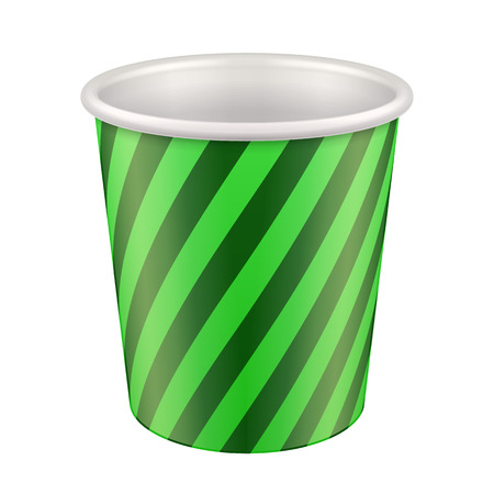 polystyrene: Green Disposable Paper Cup. Container For Coffee, Java, Tea, Cappuccino, Dessert, Yogurt, Ice Cream, Sour Sream Or Snack. Ready For Your Design. Product Packing Vector EPS10