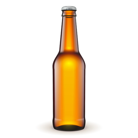 bottle cap: Glass Beer Brown Bottle On White Background Isolated. Ready For Your Design. Product Packing. Vector EPS10