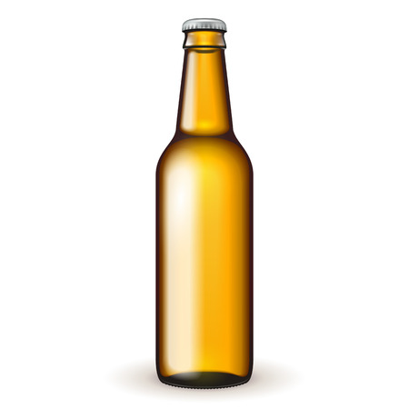 beer bottle: Glass Beer Brown Bottle On White Background Isolated. Ready For Your Design. Product Packing. Vector EPS10