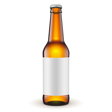 bottle cap: Glass Beer Brown Bottle With Label On White Background Isolated. Ready For Your Design. Product Packing. Vector EPS10 Illustration