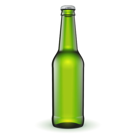 bottle cap: Glass Beer Green Bottle On White Background Isolated. Ready For Your Design. Product Packing. Vector EPS10 Illustration