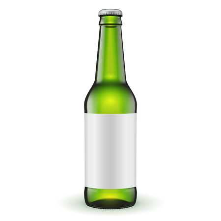 Glass Beer Green Bottle With Label On White Background Isolated. Ready For Your Design. Product Packing. Vector EPS10