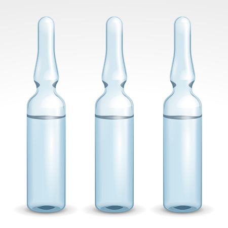 Medical Blue Transparent Glass Ampoules Isolated On White Background Isolated. Medication, Steroid, Vaccine, Antidote.