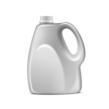 reservoir: Gray Plastic Jerrycan On White Background Isolated. Ready For Your Design. Product Packing Vector EPS10