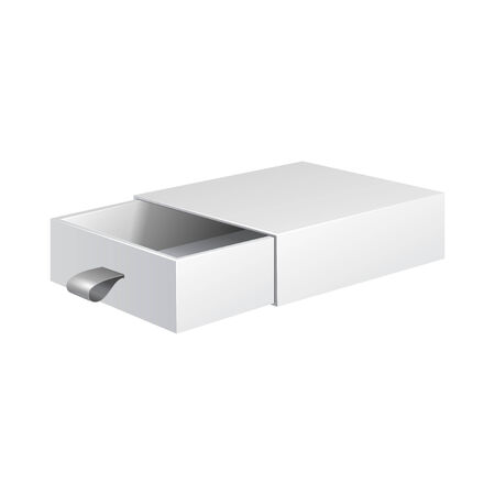 White Product Cardboard, Carton Package Box Open On White Background Isolated