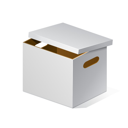 White Cardboard, Brown Inside Carton Package Box Open On White Background Isolated. Ready For Your Design. Product Packing Vector EPS10 Vector