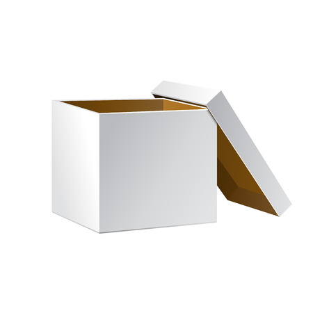 Open White Cardboard Carton Gift Box, Brown Inside. Illustration Isolated On White Background. Vector EPS10 일러스트