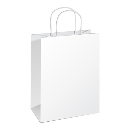 Carrier Paper Bag White. Illustration Isolated On White Background. Ready For Your Design. Product Packing Vector Vector