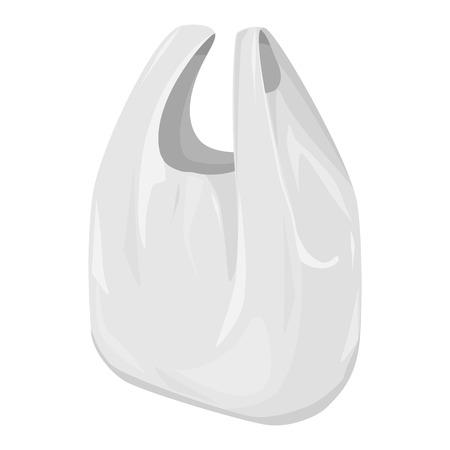 Desechables camiseta bolsa de plástico Paquete de plantillas en escala de grises. Listo para su diseño. Embalaje del producto vectorial EPS10