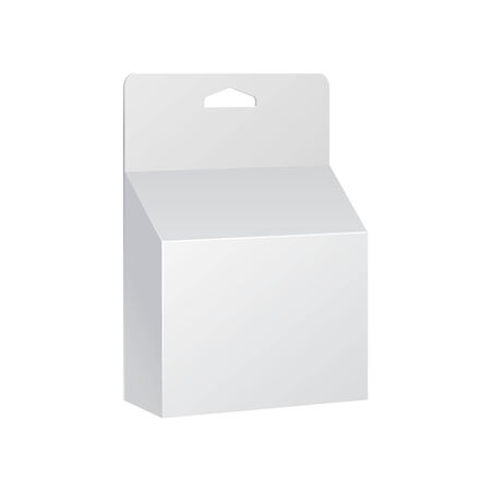 printer cartridge: White Printer Ink Cartridge Product Package Box With Hang Slot. Blank On White Background Isolated. Ready For Your Design. Product Packing Vector EPS10