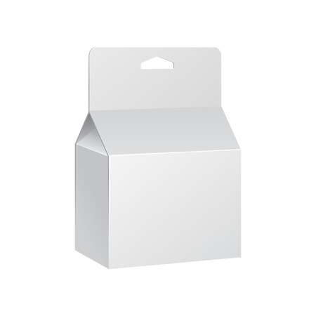 White Product Package Box With Hang Slot. Blank On White Background Isolated. Ready For Your Design. Product Packing Vector EPS10 Illustration