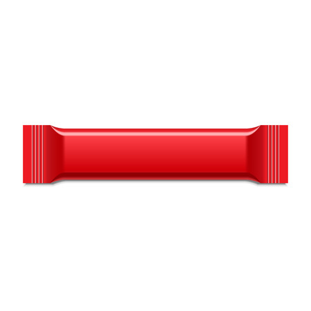 Red Blank Foil Packaging Plastic Package. Sachet, Sweets Or Candy Pack. Ready For Your Design. Snack Product Packing Vector EPS10 Vector