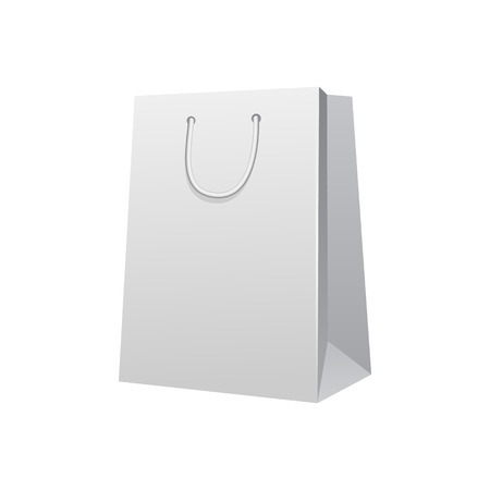 carrier bag: Carrier Paper Bag White. Illustration Isolated On White Background. Ready For Your Design. Product Packing Vector EPS10