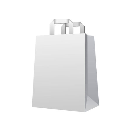 Carrier Paper Shopping Bag White Empty. Blank On White Background Isolated. Ready For Your Design. Product Packing Vector EPS10 일러스트