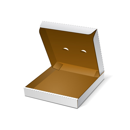 shipped: Open White Blank Carton Pizza Box On White Background Isolated. Ready For Your Design. Food Product Packing Vector EPS10 Illustration