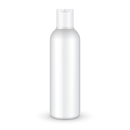 Champú, gel o loción botella de plástico sobre fondo blanco aislado. Listo para su diseño. Embalaje del producto vectorial EPS10