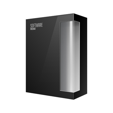 eps10: Black Modern Software Product Package Box With Gray Window For DVD Or CD Disk EPS10