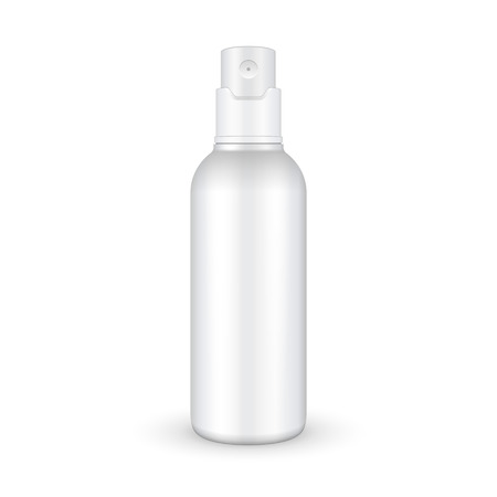 Spray Cosmetic Parfume, Deodorant, Freshener Or Medical Antiseptic Drugs Plastic Bottle White. Ready For Your Design. Product Packing Vector EPS10
