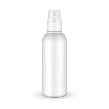 Spray Kosmetik Parfüm, Deodorant, Lufterfrischer oder medizinische Antiseptische Drogen Plastikflasche Weiß. Bereit für Ihr Design. Produkt-Verpackung Vektor-EPS10