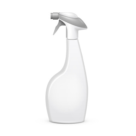 Spray Pistol Cleaner Plastic Bottle On White Background Isolated. Ready For Your Design. Product Packing Vector EPS10