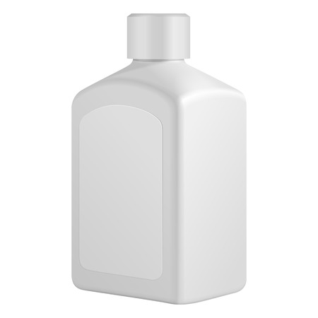 medical shower: Square Cosmetic Or Hygiene Grayscale White Plastic Bottle With Label Of Gel, Liquid Soap, Lotion, Cream, Shampoo. Ready For Your Design. Illustration Isolated On White Background. Vector EPS10