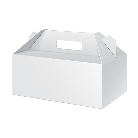 White Short Cardboard Carry Box Packaging For Food, Gift Or Other Products. On White Background Isolated. Ready For Your Design. Product Packing Vector EPS10 Illustration
