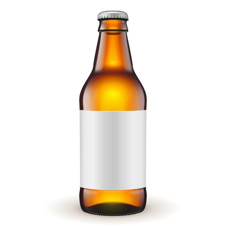 짧은 유리 맥주 브라운 격리 된 흰색 배경에 레이블 병. 디자인을위한 준비. 제품 포장. 벡터 EPS10 일러스트