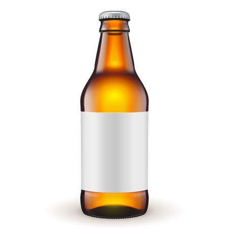 bottle cap: Short Glass Beer Brown Bottle With Label On White Background Isolated. Ready For Your Design. Product Packing. Vector EPS10