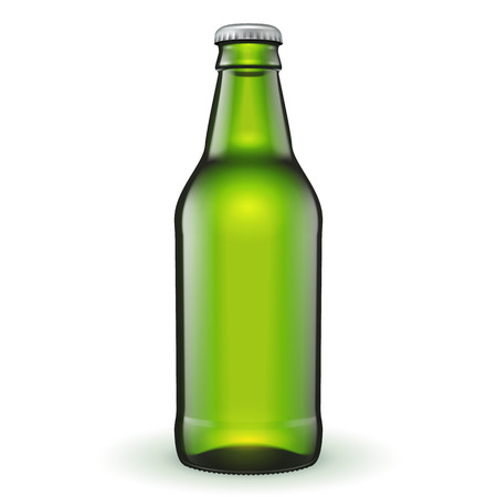 Short Glass Beer Green Bottle On White Background Isolated. Ready For Your Design. Product Packing. Vector EPS10 일러스트