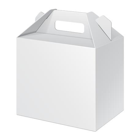小さな段ボール運ぶホワイト ボックス食品、ギフトまたは他の製品の包装。白い背景の上に分離します。あなたのデザインの準備ができて。製品梱  イラスト・ベクター素材