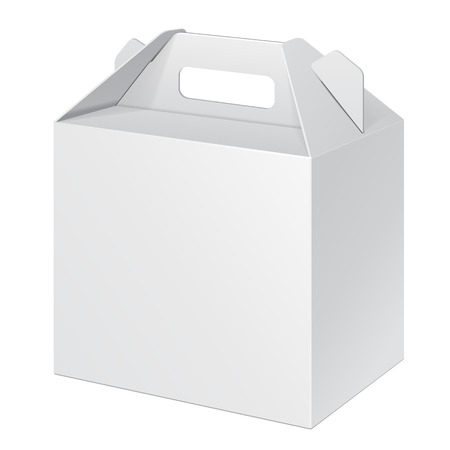 White Small Cardboard Carry Box Packaging For Food, Gift Or Other Products. On White Background Isolated. Ready For Your Design. Product Packing Vector EPS10 Illustration