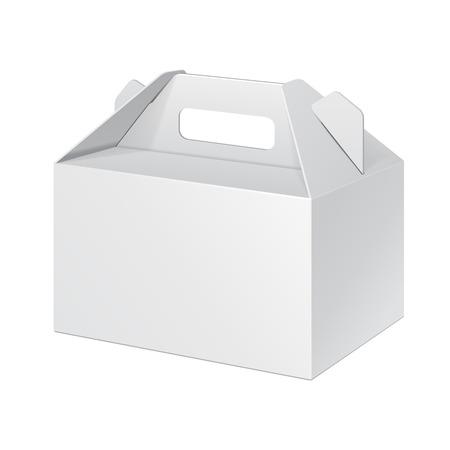 白い小さなダン ボール キャリー ボックス食品、ギフトまたは他の製品の包装。白い背景に分離されました。あなたの設計のために準備ができて。