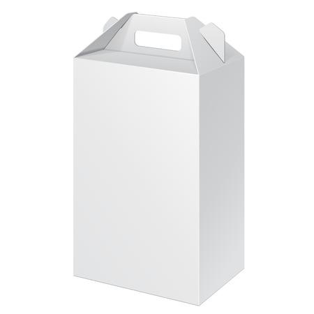 背の高い段ボール運ぶホワイト ボックス食品、ギフトまたは他の製品の包装。白い背景の上に分離します。あなたのデザインの準備ができて。製品
