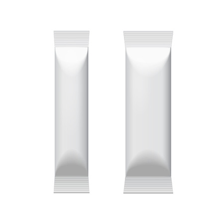 food package: Two White Blank Foil Packaging Coffee, Salt, Pepper Or Spices Stick Plastic Pack Ready For Your Design. Snack Product Packing Vector EPS10 Illustration