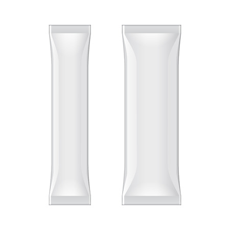 Two White Blank Foil Packaging Coffee, Salt, Pepper Or Spices Stick Plastic Pack Ready For Your Design. Snack Product Packing Vector EPS10 Illustration