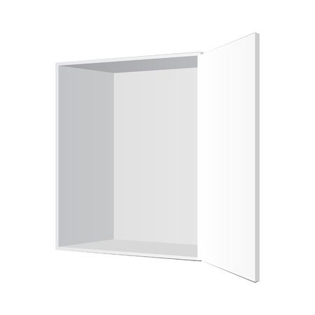 Opened White Product Cardboard Illustration