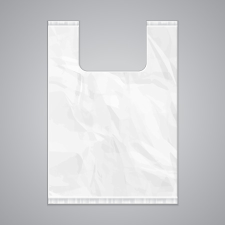 white paper bag: Disposable Plastic Bag Package Grayscale Template.  Illustration