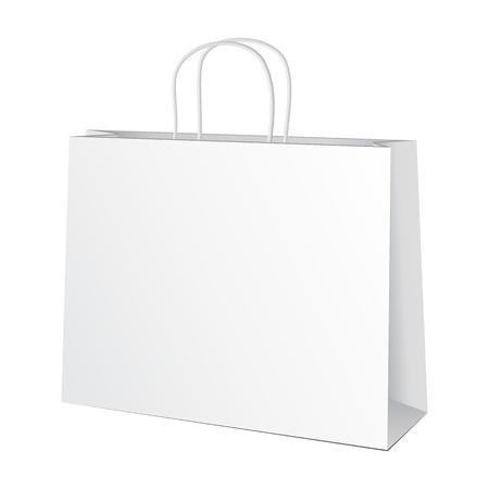 white paper bag: Carrier Paper Bag White Illustration Isolated On White Background.