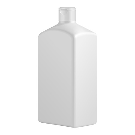 Tall Square Cosmetic Or Hygiene Grayscale White Plastic Bottle
