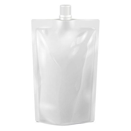 White Blank Doy-pack, Doypack Foil Food Or Drink Bag Packaging With Spout Lid.