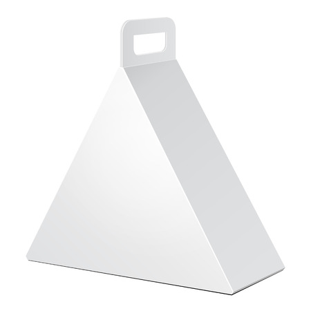 White Cardboard Triangle Carry Box Bag Packaging For Food, Gift Or Other Products.