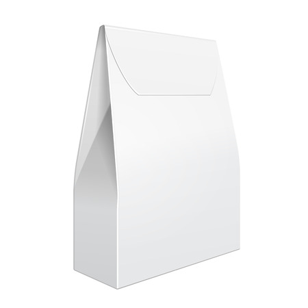 White Cardboard Carry Box Bag Packaging For Food, Gift Or Other Products.