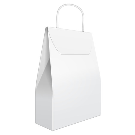 handles: White Cardboard Carry Box Bag Packaging With Handles For Food Illustration