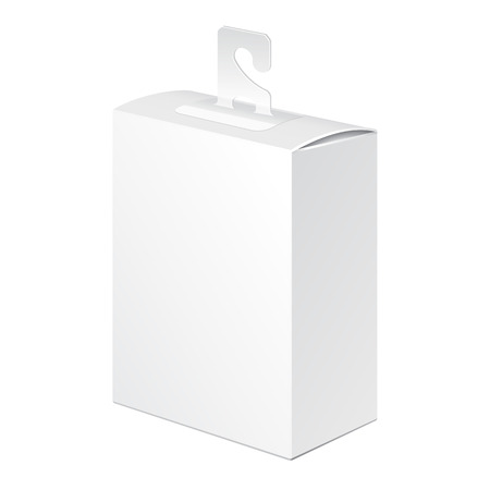 tab: White Product Package Box Blister Pack With Hook Hang Tab Illustration