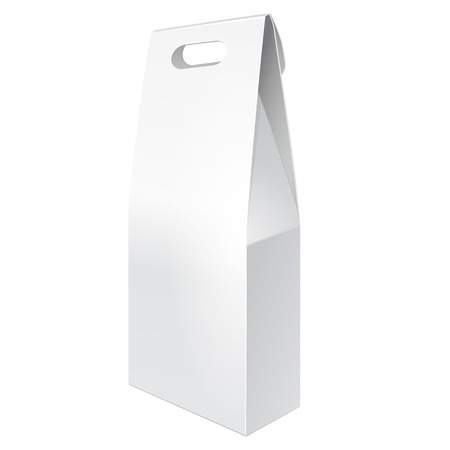 White Tall Cardboard Carry Box Bag Packaging