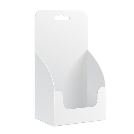White POS POI Cardboard Blank Empty Show Box Holder For Advertising Fliers, Leaflets Or Products, Hang Slot On White Background Isolated. Ready For Your Design. Product Packing. Vector EPS10
