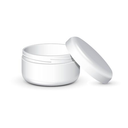 woman face cream: Cream, Gel Or Powder, Light Gray, White, Opened Empty Jar Can Cap Bottle. Blank On White Background Isolated. Ready For Your Design. Product Packing Vector EPS10
